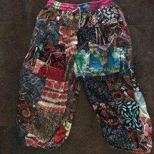 Pants - Harem patchwork capris